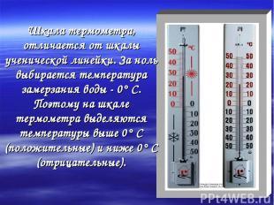 Шкала термометра, отличается от шкалы ученической линейки. За ноль выбирается те