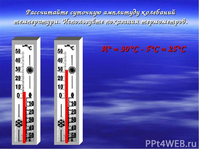 Рассчитайте суточную амплитуду колебаний температуры. Используйте показания термометров. А° = 30°С - 5°С = 25°С