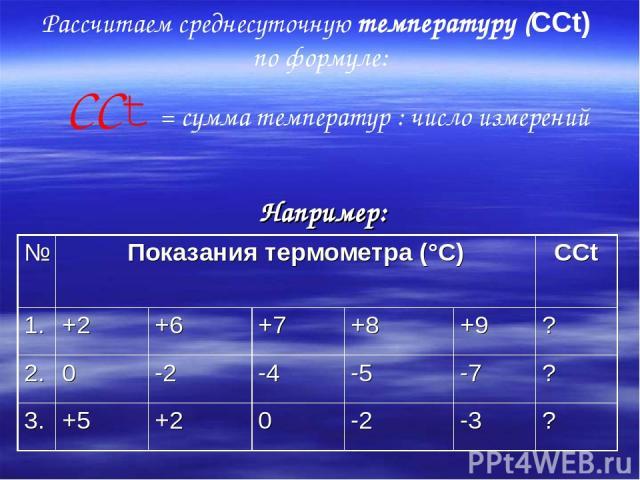 Рассчитаем среднесуточную температуру (ССt) по формуле: ССt = сумма температур : число измерений Например: № Показания термометра (°С) ССt 1. +2 +6 +7 +8 +9 ? 2. 0 -2 -4 -5 -7 ? 3. +5 +2 0 -2 -3 ?