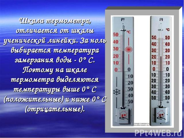 Шкала термометра, отличается от шкалы ученической линейки. За ноль выбирается температура замерзания воды - 0° С. Поэтому на шкале термометра выделяются температуры выше 0° С (положительные) и ниже 0° С (отрицательные).