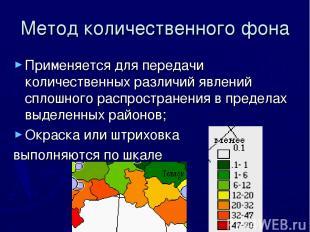 Метод количественного фона Применяется для передачи количественных различий явле