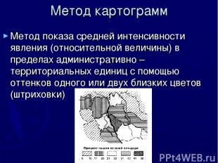 Метод картограмм Метод показа средней интенсивности явления (относительной велич