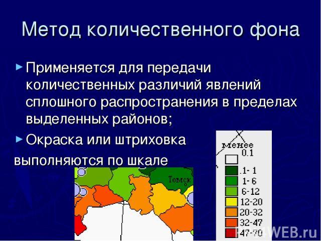 Метод количественного фона Применяется для передачи количественных различий явлений сплошного распространения в пределах выделенных районов; Окраска или штриховка выполняются по шкале
