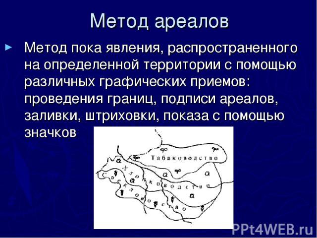 Метод ареалов Метод пока явления, распространенного на определенной территории с помощью различных графических приемов: проведения границ, подписи ареалов, заливки, штриховки, показа с помощью значков