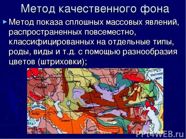 Метод качественного фона Метод показа сплошных массовых явлений, распространенных повсеместно, классифицированных на отдельные типы, роды, виды и т.д. с помощью разнообразия цветов (штриховки);