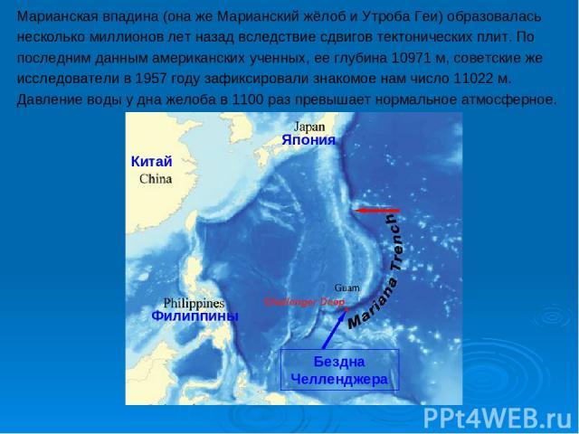 Марианская впадина (она же Марианский жёлоб и Утроба Геи) образовалась несколько миллионов лет назад вследствие сдвигов тектонических плит. По последним данным американских ученных, ее глубина 10971 м, советские же исследователи в 1957 году зафиксир…