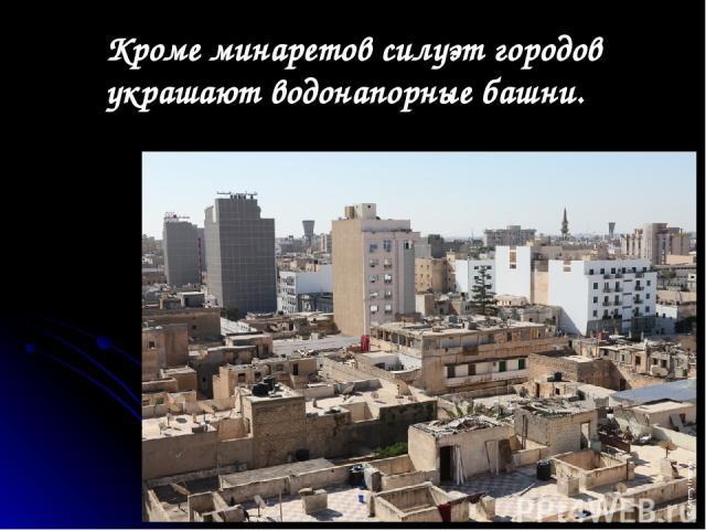 Кроме минаретов силуэт городов украшают водонапорные башни.