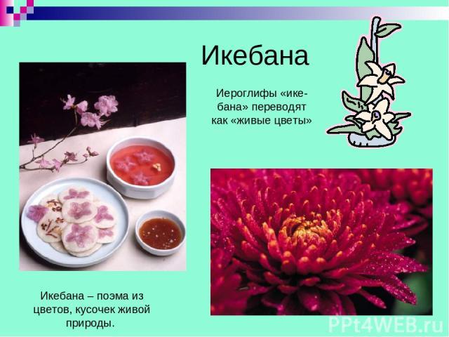 Икебана Икебана – поэма из цветов, кусочек живой природы. Иероглифы «ике-бана» переводят как «живые цветы»