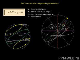 Высотасветилавверхнейкульминации hp=φ h φ 90-φ δ h – высота светила hp– высо