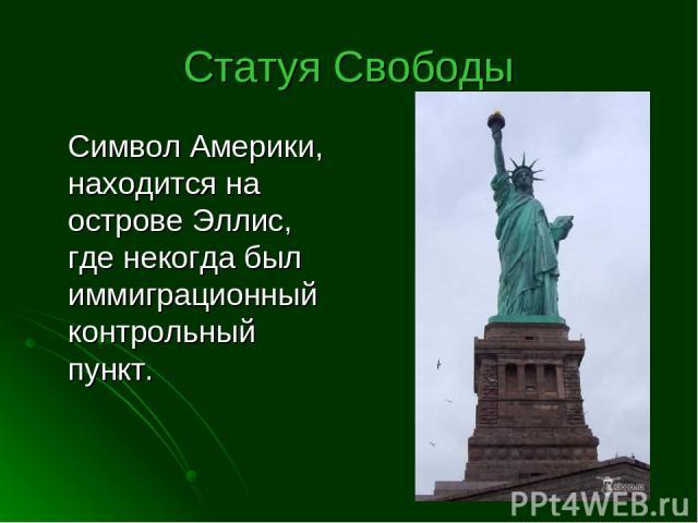 Статуя Свободы Символ Америки, находится на острове Эллис, где некогда был иммиграционный контрольный пункт.