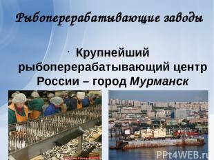 Рыбоперерабатывающие заводы Крупнейший рыбоперерабатывающий центр России – город