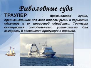 Рыболовные суда ТРАУЛЕР - промысловое судно, предназначенное для лова тралом рыб