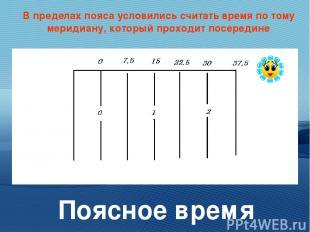 В пределах пояса условились считать время по тому меридиану, который проходит по