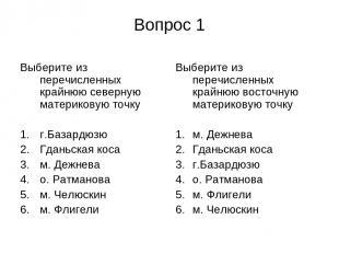 Вопрос 1 Выберите из перечисленных крайнюю северную материковую точку г.Базардюз