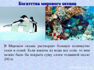 Богатства мирового океана В Мировом океане растворено большое количество газов и