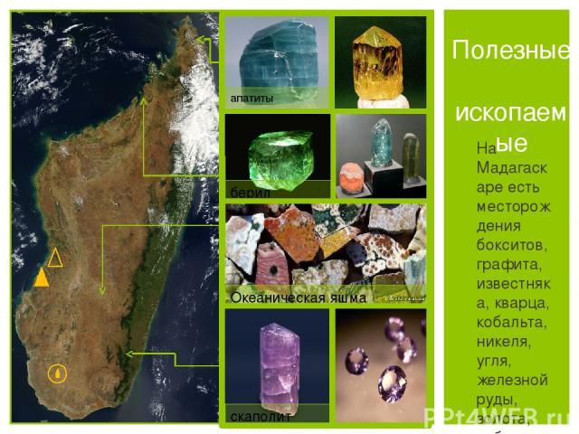 На Мадагаскаре есть месторождения бокситов, графита, известняка, кварца, кобальта, никеля, угля, железной руды, золота, рубинов и сапфиров. Полезные ископаемые апатиты берил Океаническая яшма скаполит