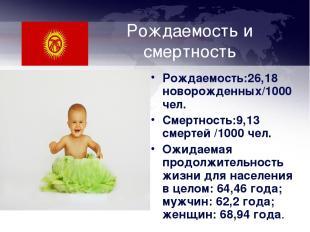 Рождаемость и смертность Рождаемость:26,18 новорожденных/1000 чел. Смертность:9,
