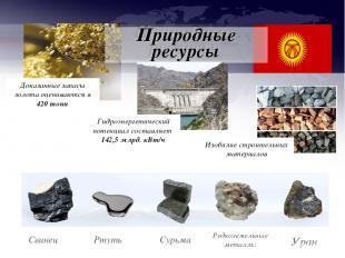 Свинец Ртуть Сурьма Редкоземельные металлы Уран Доказанные запасы золота оценива
