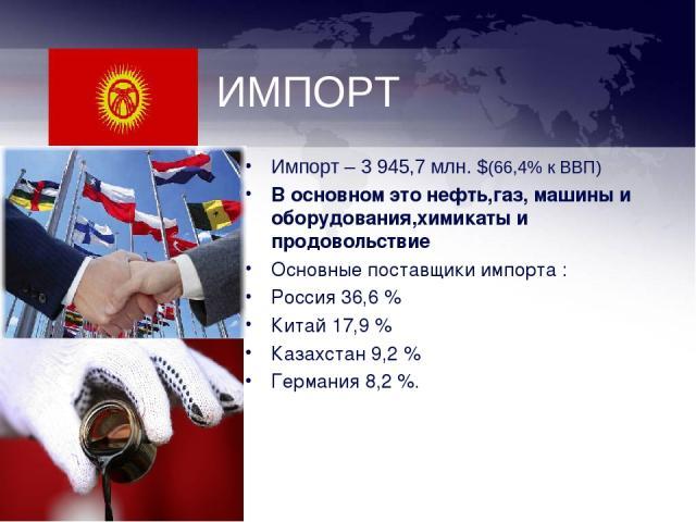 ИМПОРТ Импорт – 3 945,7 млн. $(66,4% к ВВП) В основном это нефть,газ, машины и оборудования,химикаты и продовольствие Основные поставщики импорта: Россия 36,6% Китай 17,9% Казахстан 9,2% Германия 8,2%.