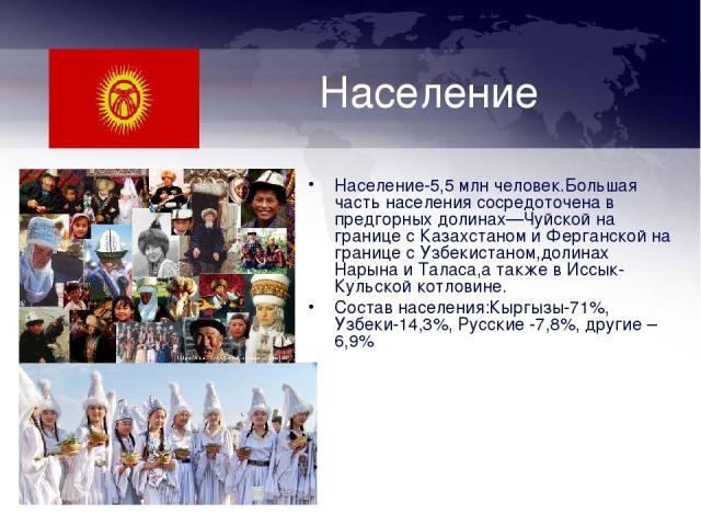 Население Население-5,5 млн человек.Большая часть населения сосредоточена в предгорных долинах—Чуйской на границе с Казахстаном и Ферганской на границе с Узбекистаном,долинах Нарына и Таласа,а также в Иссык-Кульской котловине. Состав населения:Кыргы…