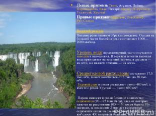 Левые притоки: Тьете, Агуапеи, Пейши, Паранапанема, Иваи, Пикири, Игуасу, Корр