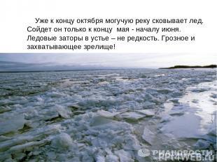 Уже к концу октября могучую реку сковывает лед. Сойдет он только к концу мая - н