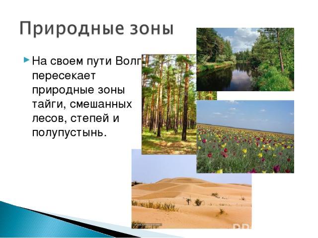 На своем пути Волга пересекает природные зоны тайги, смешанных лесов, степей и полупустынь.