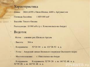 Характеристика Длина: 2824 (4359 с Онон-Шилка; 4400 с Аргунью) км Площадь бассей