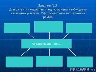 Задание №2 Для развития отраслей специализации необходимо несколько условий. Сфо