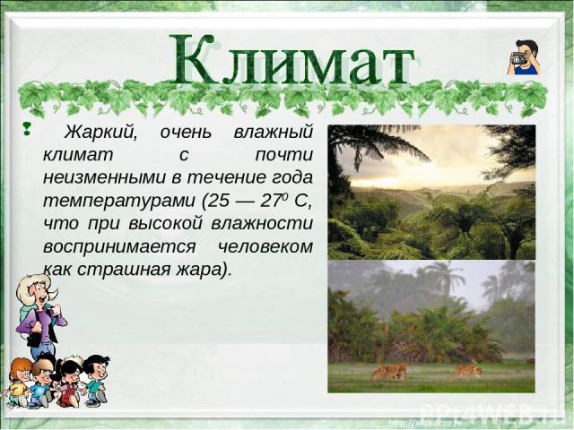 Жаркий, очень влажный климат с почти неизменными в течение года температурами (25 — 270 С, что при высокой влажности воспринимается человеком как страшная жара).