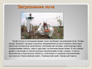 Загрязнение почв Особо остро в последнее время стоит проблема загрязнения почв.