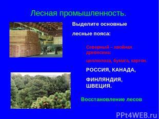Лесная промышленность. Выделите основные лесные пояса: Северный – хвойная древес