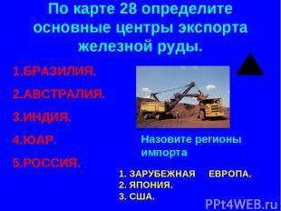 По карте 28 определите основные центры экспорта железной руды. БРАЗИЛИЯ. АВСТРАЛ