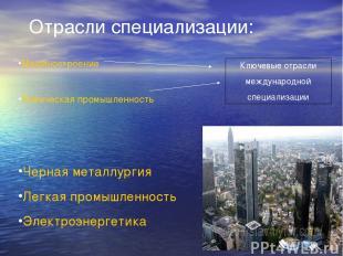 Отрасли специализации: Машиностроение Химическая промышленность Ключевые отрасли