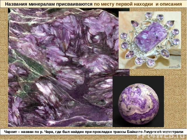 Названия минералам присваиваются по месту первой находки и описания Чароит – назван по р. Чара, где был найден при прокладке трассы Байкало-Амурской магистрали