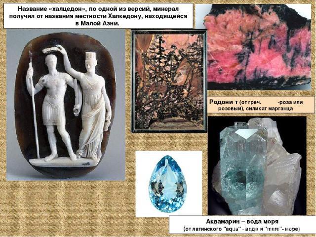 Родони т (от греч.ροδον -роза или розовый), силикат марганца Название «халцедон», по одной из версий, минерал получил от названия местности Халкедону, находящейся в Малой Азни. Аквамарин – вода моря (от латинского