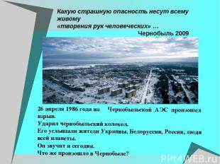 Какую страшную опасность несут всему живому «творения рук человеческих» … Черноб