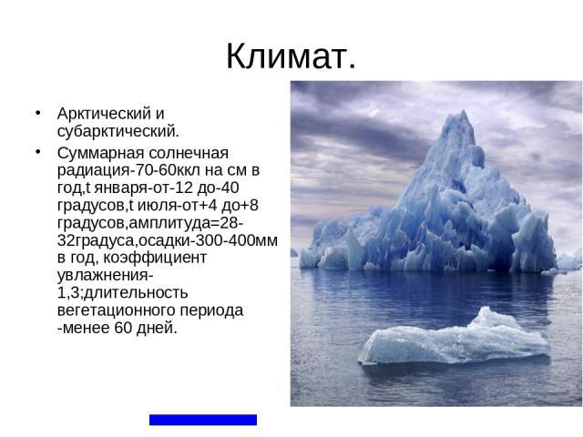 Климат. Арктический и субарктический. Суммарная солнечная радиация-70-60ккл на см в год,t января-от-12 до-40 градусов,t июля-от+4 до+8 градусов,амплитуда=28-32градуса,осадки-300-400мм в год, коэффициент увлажнения-1,3;длительность вегетационного пер…
