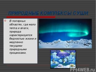 ПРИРОДНЫЕ КОМПЛЕКСЫ СУШИ В полярных областях, где мало тепла и влаги, природа ха
