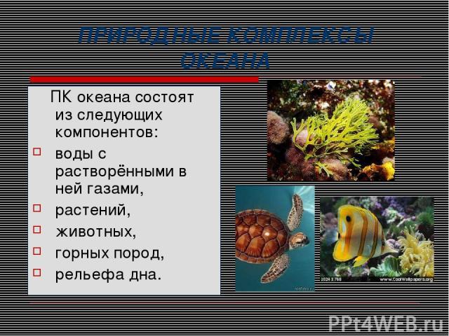 ПРИРОДНЫЕ КОМПЛЕКСЫ ОКЕАНА ПК океана состоят из следующих компонентов: воды с растворёнными в ней газами, растений, животных, горных пород, рельефа дна.