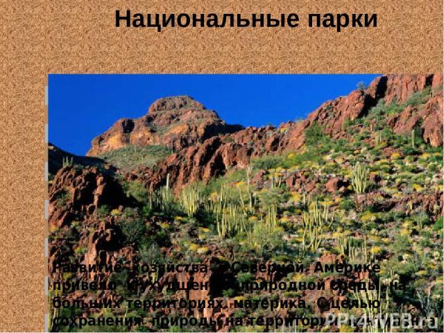 Национальные парки Развитие хозяйства в Северной Америке привело к ухудшению природной среды на больших территориях материка. С целью сохранения природы на территории континента созданы крупные национальные парки