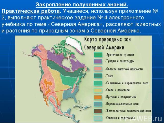 Закрепление полученных знаний. Практическая работа. Учащиеся, используя приложение № 2, выполняют практическое задание № 4 электронного учебника по теме «Северная Америка», расселяют животных и растения по природным зонам в Северной Америке.