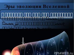 Эры эволюции Вселенной Фотонная эра или эра излучения Длилась примерно от t=10-6
