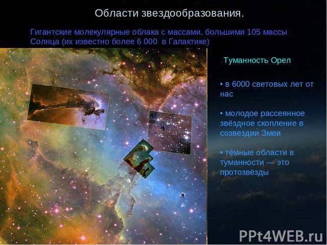 Области звездообразования. Гигантские молекулярные облака с массами, большими 105 массы Солнца (их известно более 6 000 в Галактике) Туманность Орел в 6000 световых лет от нас молодое рассеянное звёздное скопление в созвездии Змеи тёмные области в т…