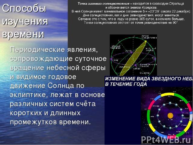 Способы изучения времени Периодические явления, сопровождающие суточное вращение небесной сферы и видимое годовое движение Солнца по эклиптике, лежат в основе различных систем счёта коротких и длинных промежутков времени.