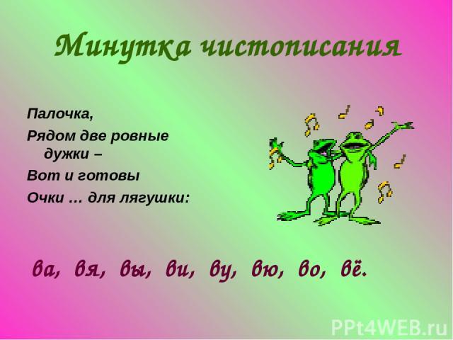 Минутка чистописания Палочка, Рядом две ровные дужки – Вот и готовы Очки … для лягушки: ва, вя, вы, ви, ву, вю, во, вё.