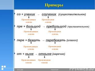 Примеры со + ученик → соученик (существительное) пре + большой → пребольшой (при