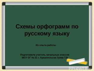 Схемы орфограмм по русскому языку Подготовила учитель начальных классов МОУ ОГ №
