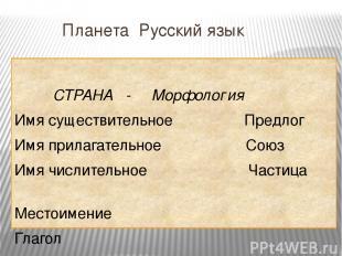 Планета Русский язык СТРАНА - Морфология Имя существительное Предлог Имя прилага