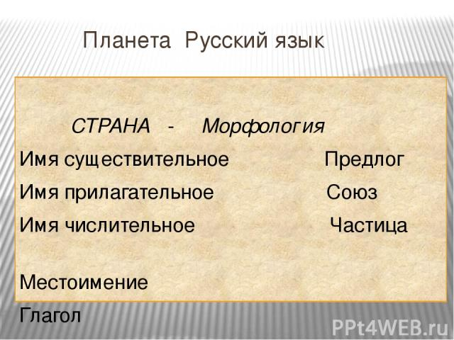 Планета Русский язык СТРАНА - Морфология Имя существительное Предлог Имя прилагательное Союз Имя числительное Частица Местоимение Глагол ?